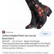 Jeffrey Campbell for Free People Joe Lace Up Boots. Black With Floral Print . Photo