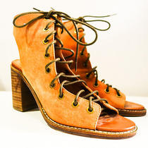 Jeffrey Campbell for Free People Tan Brown Minimal Lace Up Heel Wedge Boot Photo