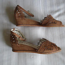 Jeffrey Campbell Foray Nude Suede Mini-Wedge Shoes Size 7.5  Photo