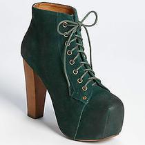 Jeffrey Campbell Forrest Green Suede Wood Platform Heel Ankle Boot Bootie 7.5 Photo
