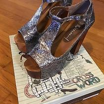 Jeffrey Campbell Foxy Wood Pewter Glitter Peep Toe Platform Shoe Worn Once Sz 8 Photo