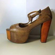Jeffrey Campbell Foxy Wood Sandals Size 8 Photo