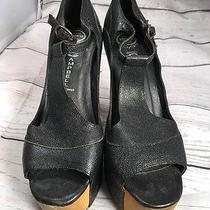 Jeffrey Campbell Foxy Wood T-Strap High Heel Platforms Size 6.5 Black Photo
