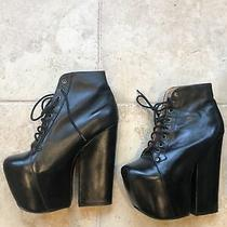 Jeffrey Campbell Freda Massive Platform Heel Ankle Goth Boots Black Leather 8 Photo