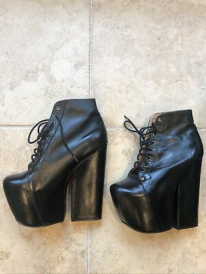 Jeffrey Campbell Freda MASSIVE Platform Heel Ankle Goth Boots Black Leather 8 Photo