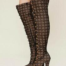 Jeffrey Campbell Free People Black Lace Battalion Over the Knee Boots Size 6 Photo