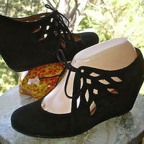 Jeffrey Campbell Free People Lamp Black Suede Bootie Wedge Tie Pump Womens 7.5  Photo