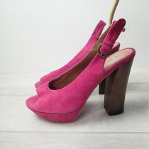 Jeffrey Campbell Friend Platform Pink Suede Peep Open Toe Block Heel Pump 8.5 Photo