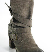 Jeffrey Campbell Green Leather Buckle Detail Ankle Boot Size 7 Photo