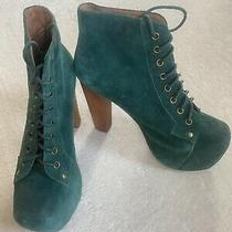 Jeffrey Campbell Green Suede Booties Size 8.5 Photo
