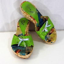 Jeffrey Campbell Green Wedge Sandals 7 Fringe Retro Wicker Slides Womens Shoes Photo