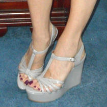 Jeffrey Campbell Grey Strappy Wedges 11 Swan Song Pin Up Drag Queen Gothic Retro Photo