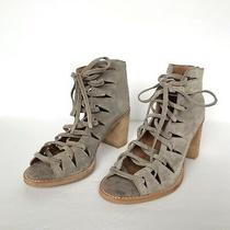 Jeffrey Campbell Grey Suede Corwin Lace Up Open Toe Stacked Heel Bootie Size 8.5 Photo