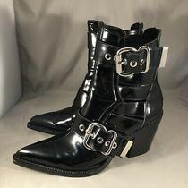 Jeffrey Campbell Guadalupe Black Box Boot Pointed Toe Buckle Ankle Booties Sz 8  Photo