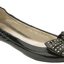 Jeffrey Campbell Haley Stud Bow Black Patent Leather Ballet Flats Shoes Womens 9 Photo