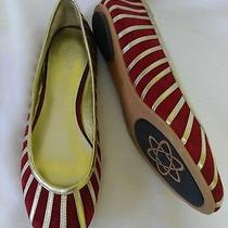 Jeffrey Campbell Hand Made  Tahti Flats. Gold Red Shoes Size 8.5 Bistro Photo