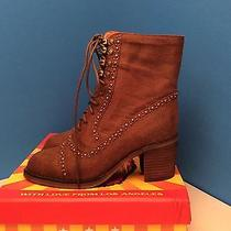 Jeffrey Campbell Hannie Distressed Leather Lace Up Heel Ankle Boots Size 7m New Photo