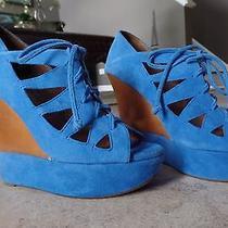 Jeffrey Campbell Harlow Platform Lace Up Heels Blue Suede 7 Worn 1 Time Inside Photo