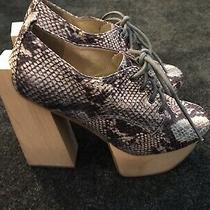 Jeffrey Campbell Havana Last Booties Wood Chunky Heel Sound Sz 6 Snakeskin Shoes Photo