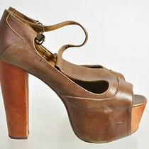 Jeffrey Campbell Havana Last Brown Leather Platform Heel T Strap Sandals Sz 7m Photo