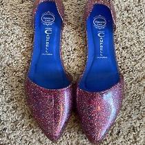 Jeffrey Campbell Havana Last Pink Sparkle Jelly d'orsay Flats Slip-on Shoes Sz 8 Photo