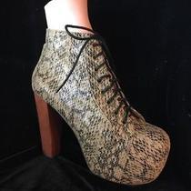 Jeffrey Campbell Havana Last Platform Snakeskin Tan Black 8.5 Lace High Heel Z1 Photo