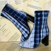 Jeffrey Campbell Heeled Boots Blue Tie Dye Fabric Side Zipper Point Toe 8 New Photo