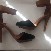 Jeffrey Campbell Heels 6 Solitaire Black Suede Tan Leather Photo