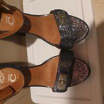 Jeffrey Campbell Heels Sandals Womens Blue Sparkles Ankle Strap Never Worn Siz Photo