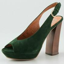Jeffrey Campbell Hunter Green Suede Stacked Platform Pumps Heels us7.5 Eu38 Uk5 Photo