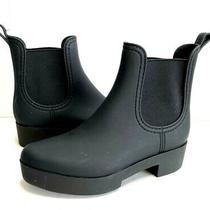 Jeffrey Campbell Hydra Black Matte Waterproof Chelsea Rain Boots Women 9m Photo