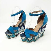 Jeffrey Campbell Ibiza 7 Blue Suede Sandal Wedge Retro 70s Platform Crochet Photo