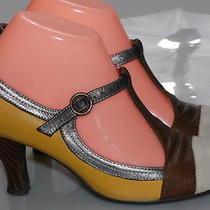 Jeffrey Campbell Ibiza Aina2 Women's Size 7 Yellow Tan Leather Mary Jane Pumps Photo