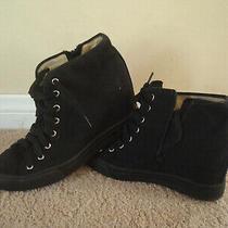 Jeffrey Campbell Ibiza Black Canvas Women Ankle Lace Up Platform Wedge Shoes 7.5 Photo
