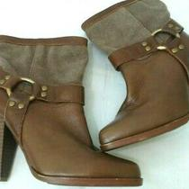 Jeffrey Campbell Ibiza Brown Leather Canvas Women's Heels Ankle Boots Size 6 M Photo