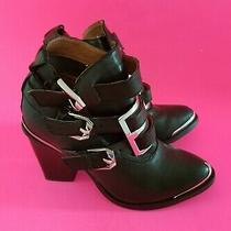 Jeffrey Campbell Ibiza Hyatt High Heel Black Boots Buckles Toe Silver . Size 8 Photo
