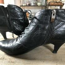 Jeffrey Campbell Ibiza Kitten Heel Black Leather Vintage Bootie 9 Photo