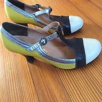 Jeffrey Campbell Ibiza Last Aina 2 Color Block T-Strap Leather Heels Size 7.5 Photo