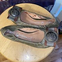 Jeffrey Campbell Ibiza Last Ballet Flat Size 5.5 Green Leather W/embellished Toe Photo