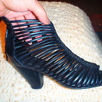Jeffrey Campbell Ibiza Last Caged Black Wedge Sandals Snake Print Size 7  Photo