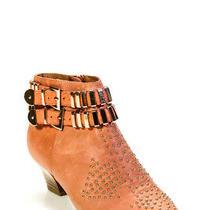 Jeffrey Campbell Ibiza Womens Leather Gold Studded Booties Orange Size 8 Photo