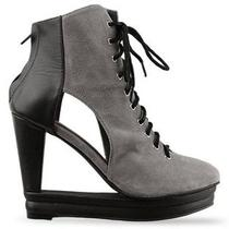 Jeffrey Campbell Jc Architectural Gray Black Heel Shoe Wedge Photo