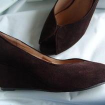 Jeffrey Campbell Jc Designer Brown Suede Leather Peep Toe Wedge Heels Shoes 8.5 Photo