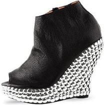 Jeffrey Campbell Jc Tick Silver Stud Black Leather Wedge Heel Shoe Photo