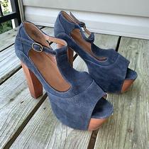 Jeffrey Campbell Jeffrey Campbell Foxy Wood Sandals Heels Blue Navy Size 9 Photo