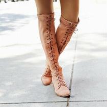 Jeffrey Campbell Joe Lace Up Boots 9 Blush Pink Photo