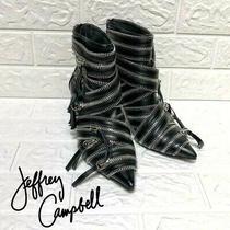 Jeffrey Campbell Karloff Multi Zipper Hardware Ankle Boots Hard Rock Heels Sz 7  Photo