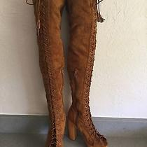 Jeffrey Campbell Knee High Peep Toe Lace Up Boot New Size 9 Photo