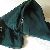 Jeffrey Campbell Knee Thigh High Buckle Green Suede Flats Boots Lubbock Sz 7.5 8 Photo
