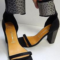 Jeffrey Campbell Knight 7m Black Leather Pounded Pewter Heels Ankle Cuff Photo